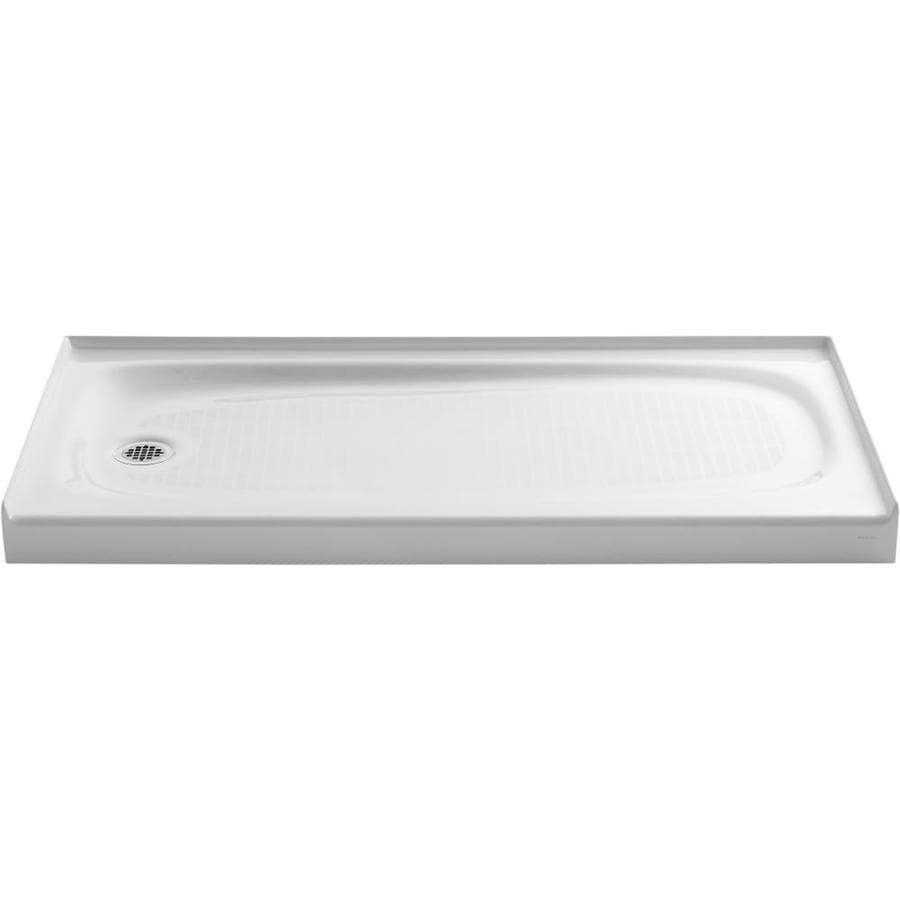 Shop kohler salient white cast iron shower base common 30 in w x 60 in l actual 30 in w x 60 - 30 x 60 shower pan ...