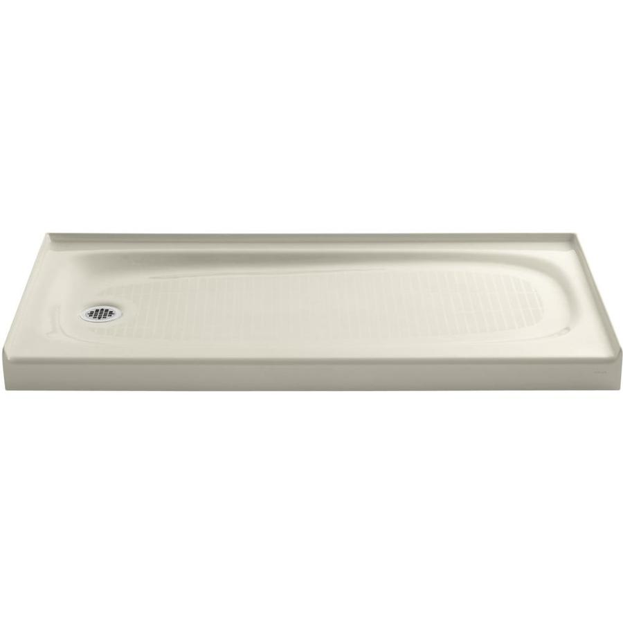 KOHLER Salient Almond Cast Iron Shower Base (Common: 30-in W x 60-in L; Actual: 30-in W x 60-in L)
