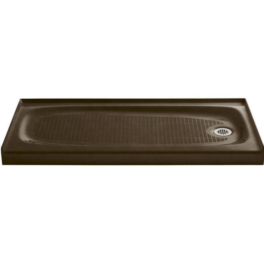KOHLER Salient Black 'N Tan Cast Iron Shower Base (Common: 30-in W x 60-in L; Actual: 30-in W x 60-in L)