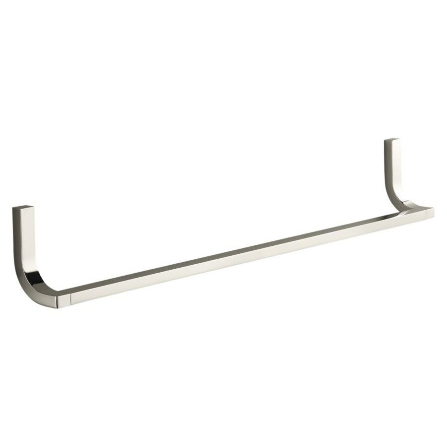 KOHLER Loure Vibrant Polished Nickel Single Towel Bar (Common: 24-in; Actual: 24.75-in)