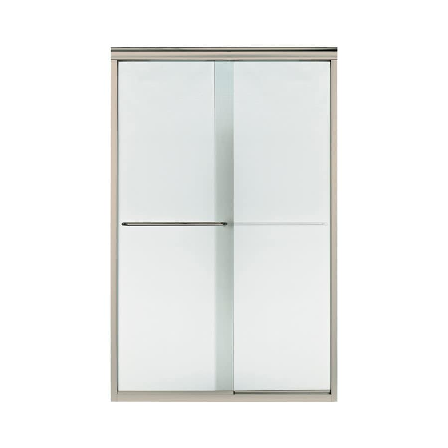 Sterling Finesse 45.75-in to 47.25-in W x 70.3125-in H Brushed Nickel Sliding Shower Door