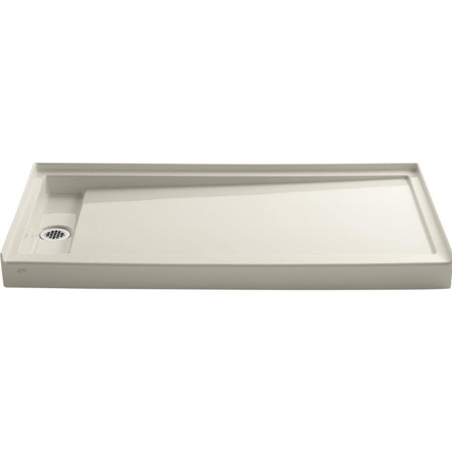 KOHLER Groove Almond Acrylic Shower Base (Common: 32-in W x 60-in L; Actual: 32-in W x 60-in L)