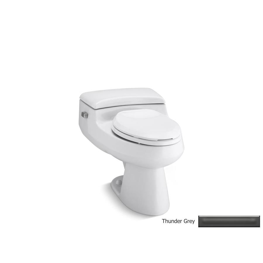 KOHLER San Raphael Thunder Grey 1.0-GPF (3.79-LPF) 12 Rough-In WaterSense Elongated Pressure Assist 1-Piece Chair Height Toilet