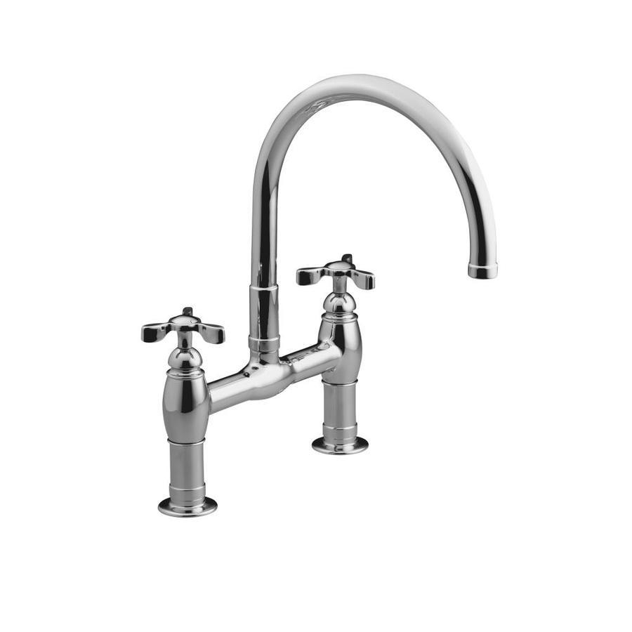 KOHLER Parq Polished Chrome 2-Handle High-Arc Kitchen Faucet