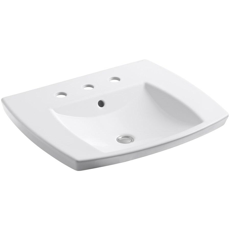 KOHLER Kelston White Drop-in Rectangular Bathroom Sink with Overflow