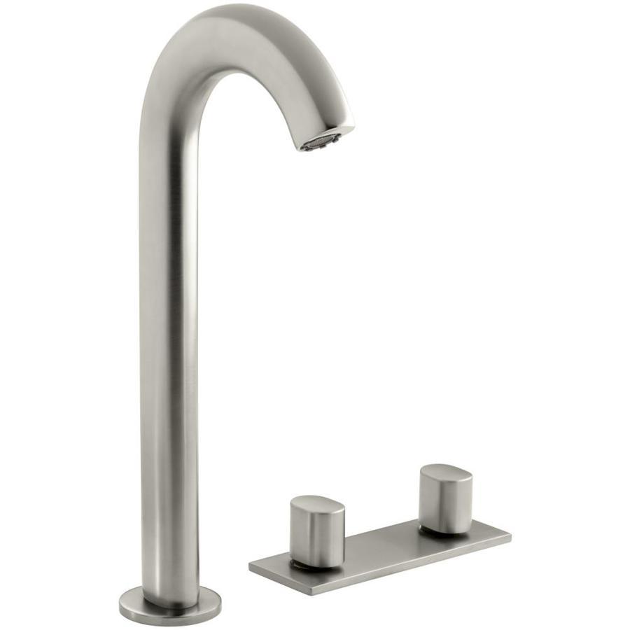 KOHLER Oblo Vibrant Brushed Nickel 2-Handle Widespread WaterSense Bathroom Faucet (Drain Included)