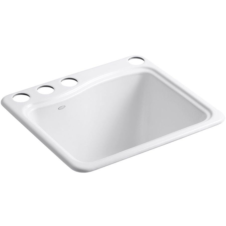 KOHLER 14.75-in x 21.5-in White Undermount Cast Iron Laundry Utility Sink