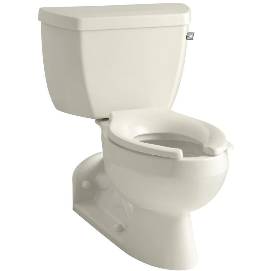 KOHLER Barrington Almond 1.1-GPF (4.16-LPF) 4 Rough-In WaterSense Elongated Pressure Assist 2-Piece Standard Height Rear Outlet Toilet