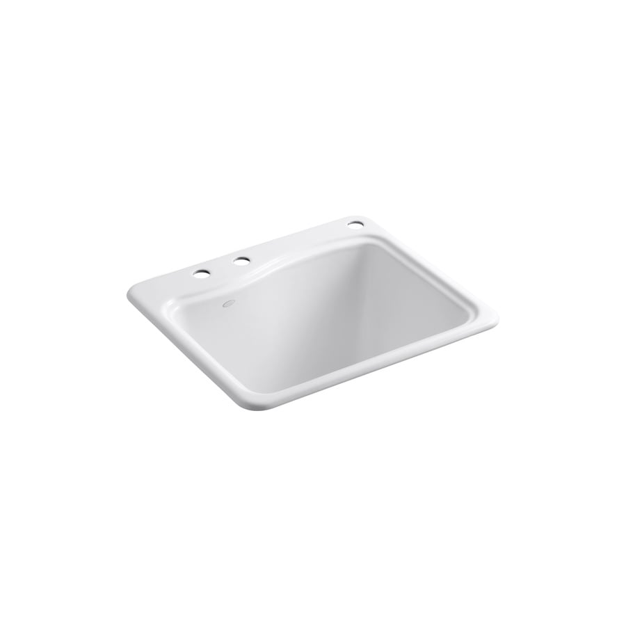 KOHLER 22-in x 25-in White Self-Rimming Cast Iron Utility Sink