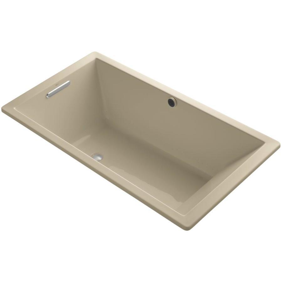 KOHLER Underscore 66-in L x 36-in W x 22-in H Mexican Sand Acrylic Rectangular Drop-in Air Bath