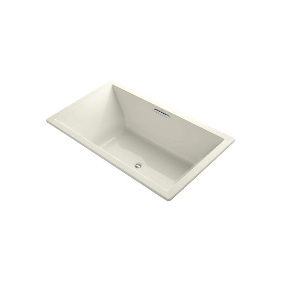KOHLER Underscore Biscuit Acrylic Rectangular Drop-in Bathtub with Center Drain (Common: 42-in x 72-in; Actual: 23-in x 42-in x 72-in)