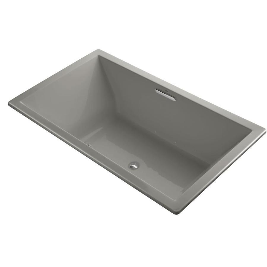 KOHLER Underscore 72-in L x 42-in W x 23-in H Cashmere Acrylic Rectangular Drop-in Air Bath