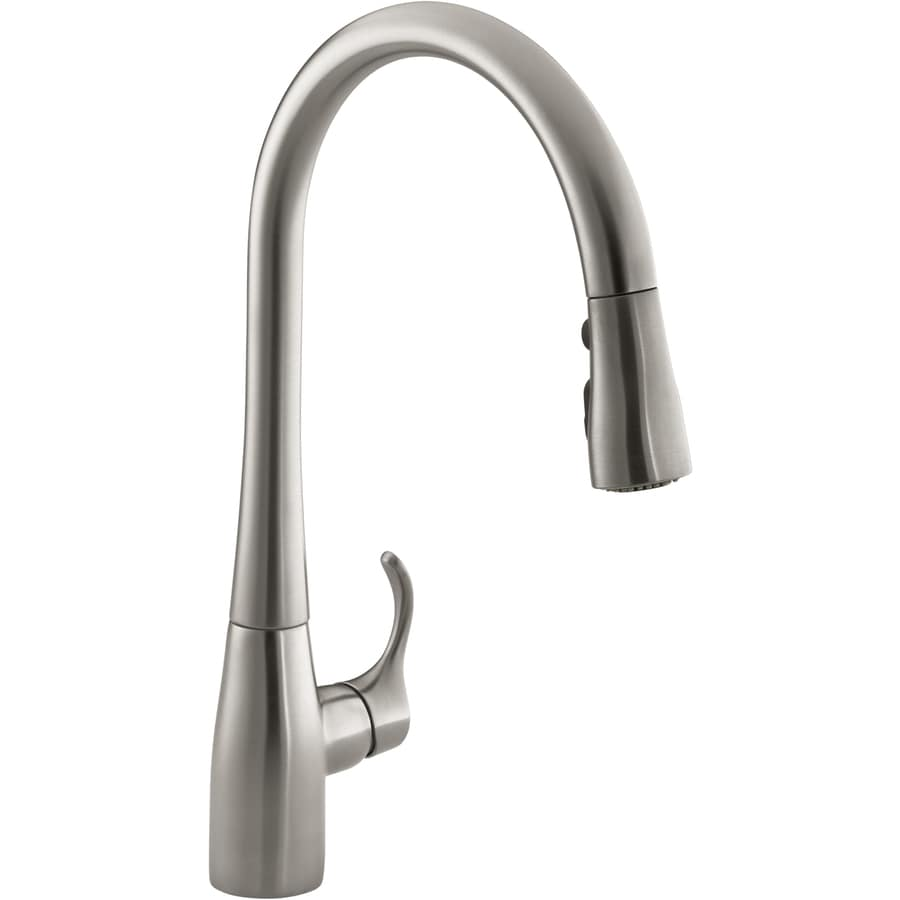 KOHLER Simplice Vibrant Stainless 1-Handle Pull-Down Kitchen Faucet ...