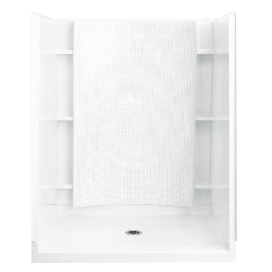 Sterling Accord White Vikrell Wall and Floor 4-Piece Alcove Shower Kit (Common: 36-in x 60-in; Actual: 77-in x 36-in x 60-in)