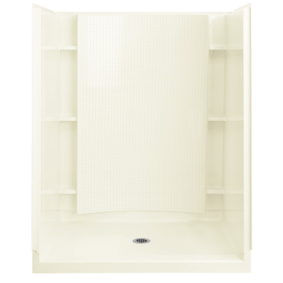 Sterling Accord Biscuit Vikrell Wall and Floor 4-Piece Alcove Shower Kit (Common: 36-in x 60-in; Actual: 77-in x 36-in x 60-in)