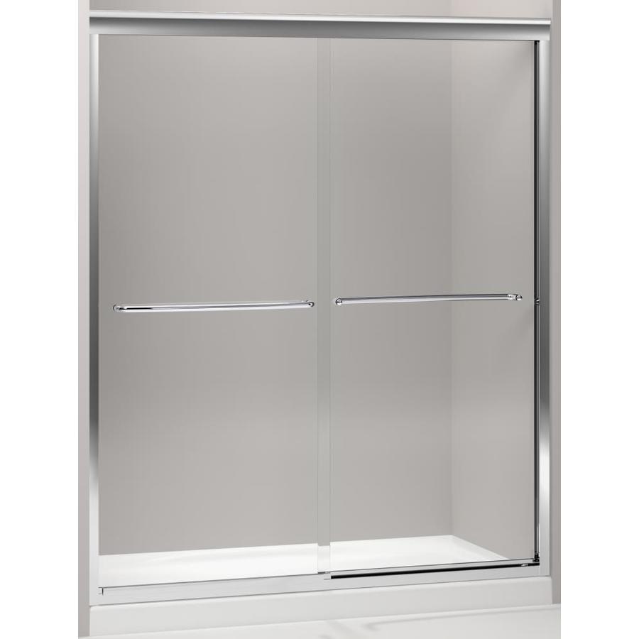 KOHLER Fluence 56.625-in to 59.625-in W x 75-in H Silver Sliding Shower Door