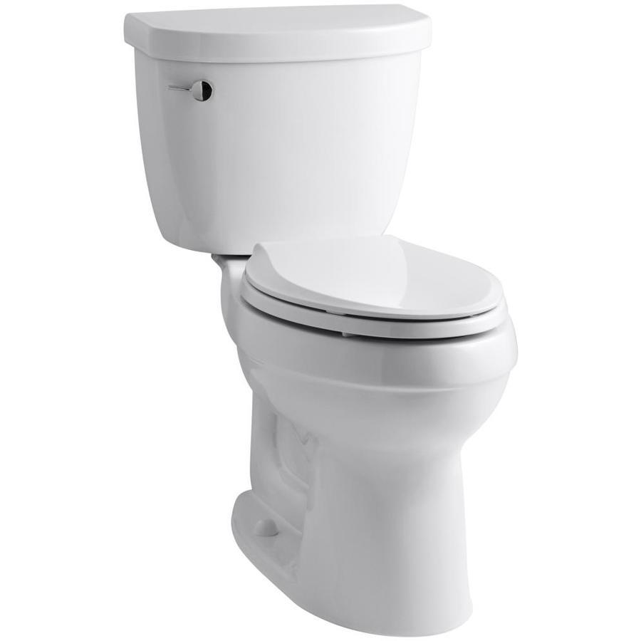 KOHLER Cimarron White 1.6-GPF (6.06-LPF) 12-in Rough-In Elongated 2-Piece Comfort Height Toilet