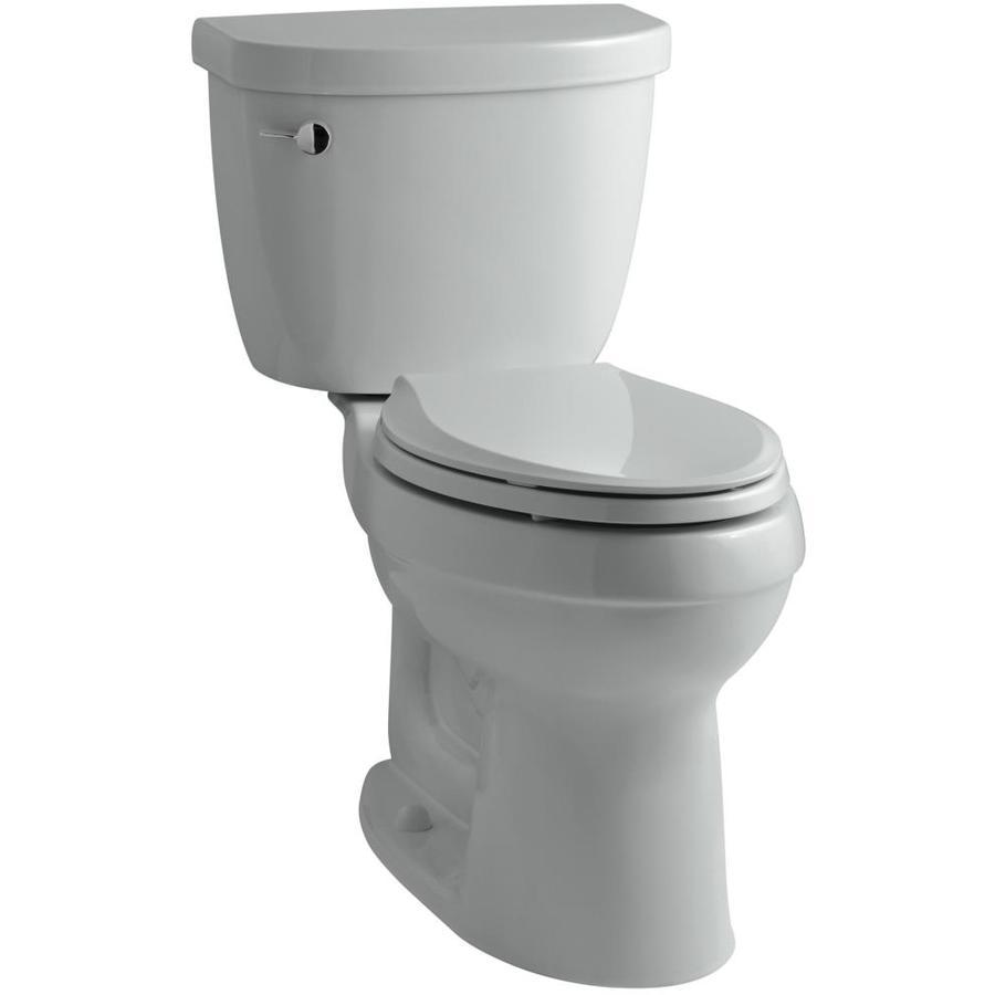 KOHLER Cimarron Ice Grey 1.6-GPF (6.06-LPF) 12 Rough-In Elongated 2-Piece Chair Height Toilet