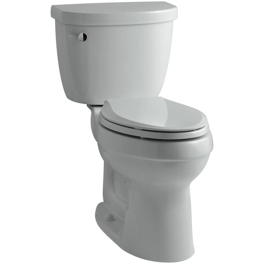 KOHLER Cimarron Ice Grey 1.6-GPF (6.06-LPF) 12-in Rough-In Elongated 2-Piece Comfort Height Toilet