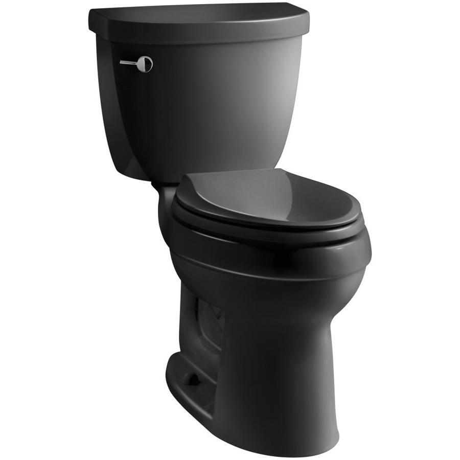 KOHLER Cimarron Black Black 1.28-GPF (4.85-LPF) 12 Rough-In WaterSense Elongated 2-Piece Chair Height Toilet