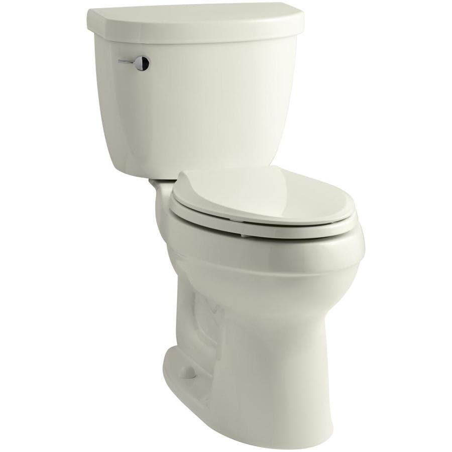 KOHLER Cimarron Biscuit 1.28-GPF (4.85-LPF) 12 Rough-In WaterSense Elongated 2-Piece Chair Height Toilet