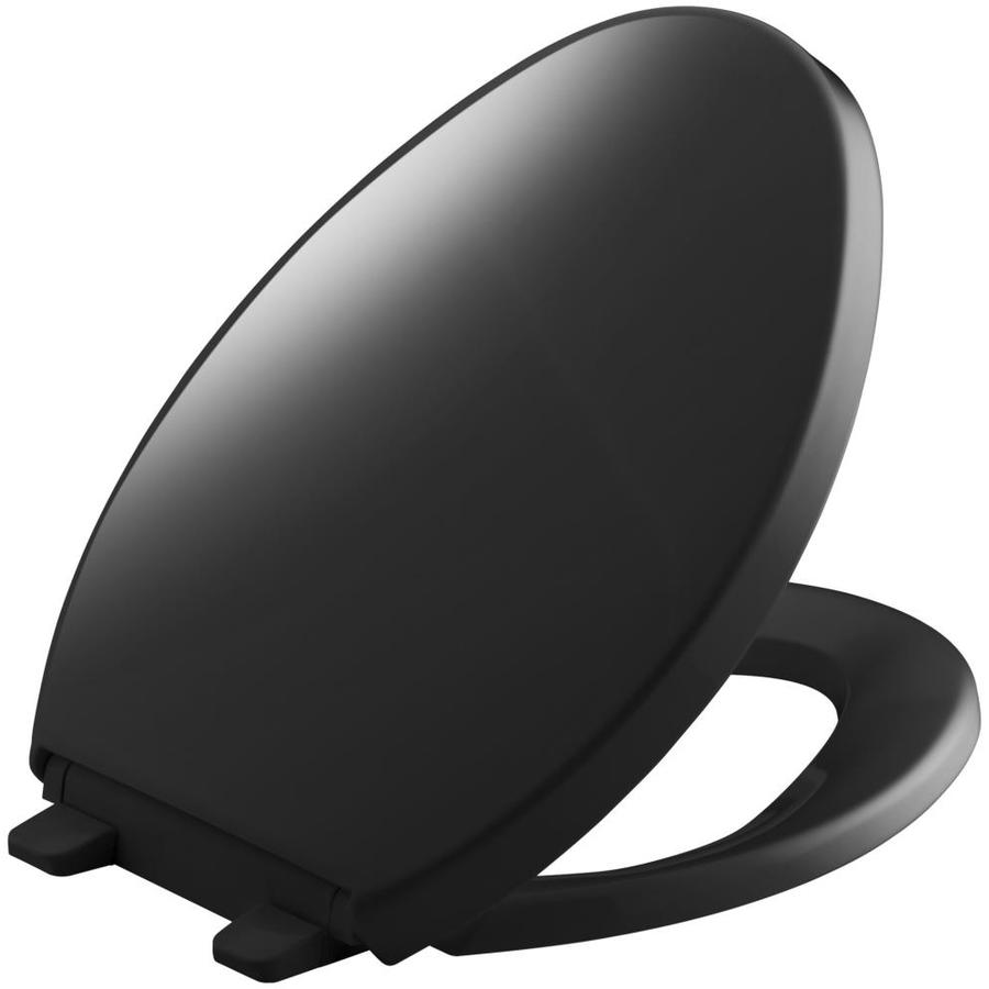 KOHLER Saile Black Plastic Elongated Slow-Close Toilet Seat
