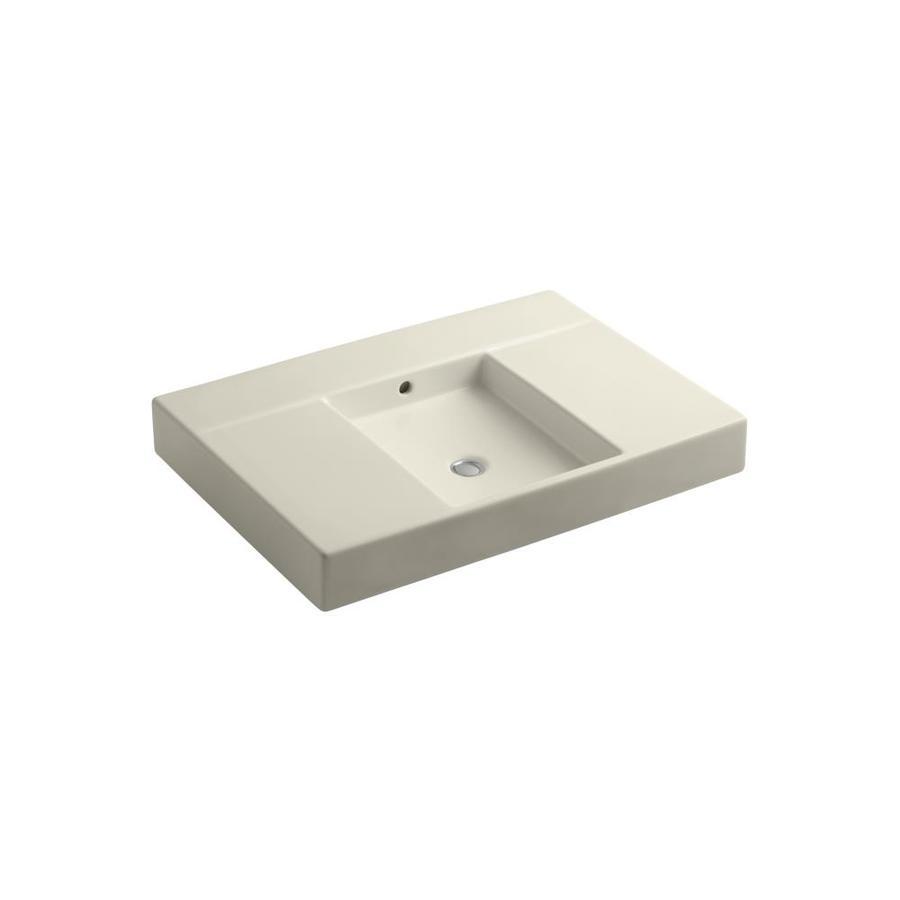 KOHLER Traverse Almond Fire Clay Integral Bathroom Vanity Top (Common: 22-in x 31-in; Actual: 21.625-in x 30.5-in)
