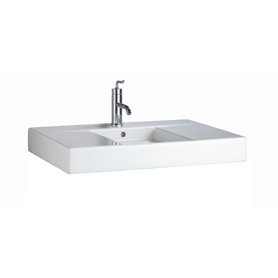 KOHLER Traverse White Fire Clay Drop-in Rectangular Bathroom Sink with Overflow