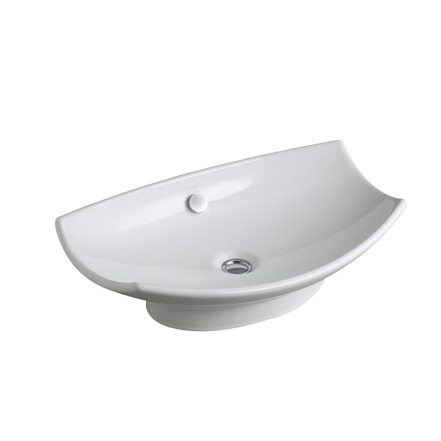 KOHLER Leaf White Fire Clay Drop-in Rectangular Bathroom Sink with Overflow