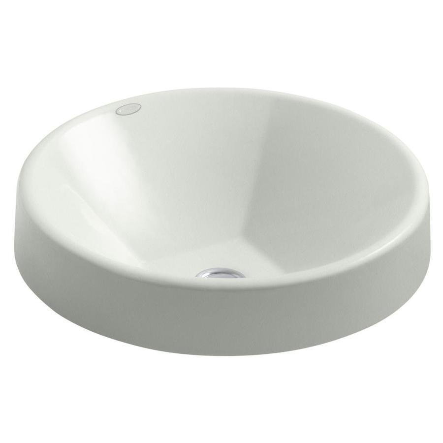 KOHLER Inscribe Sea Salt Cast Iron Drop-in Round Bathroom Sink