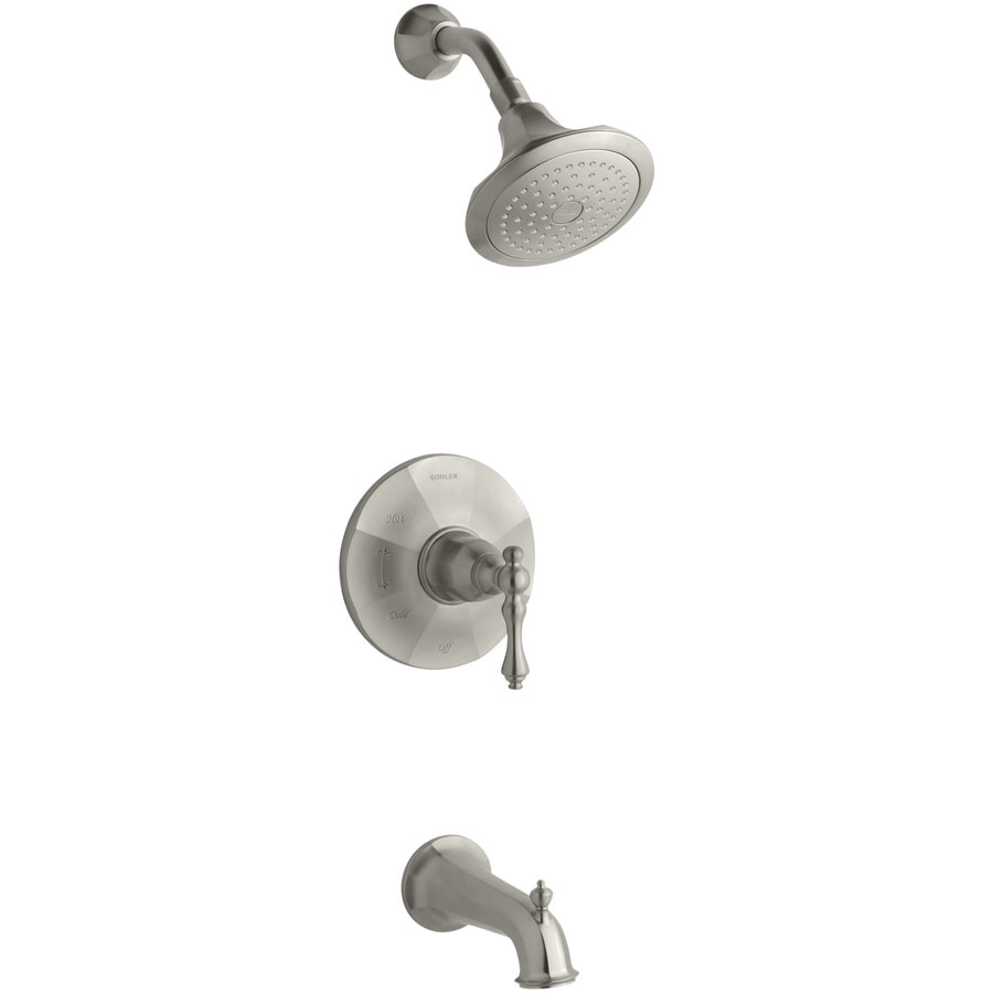 Shop KOHLER Kelston Vibrant Brushed Nickel 1-Handle Bathtub and Shower ...