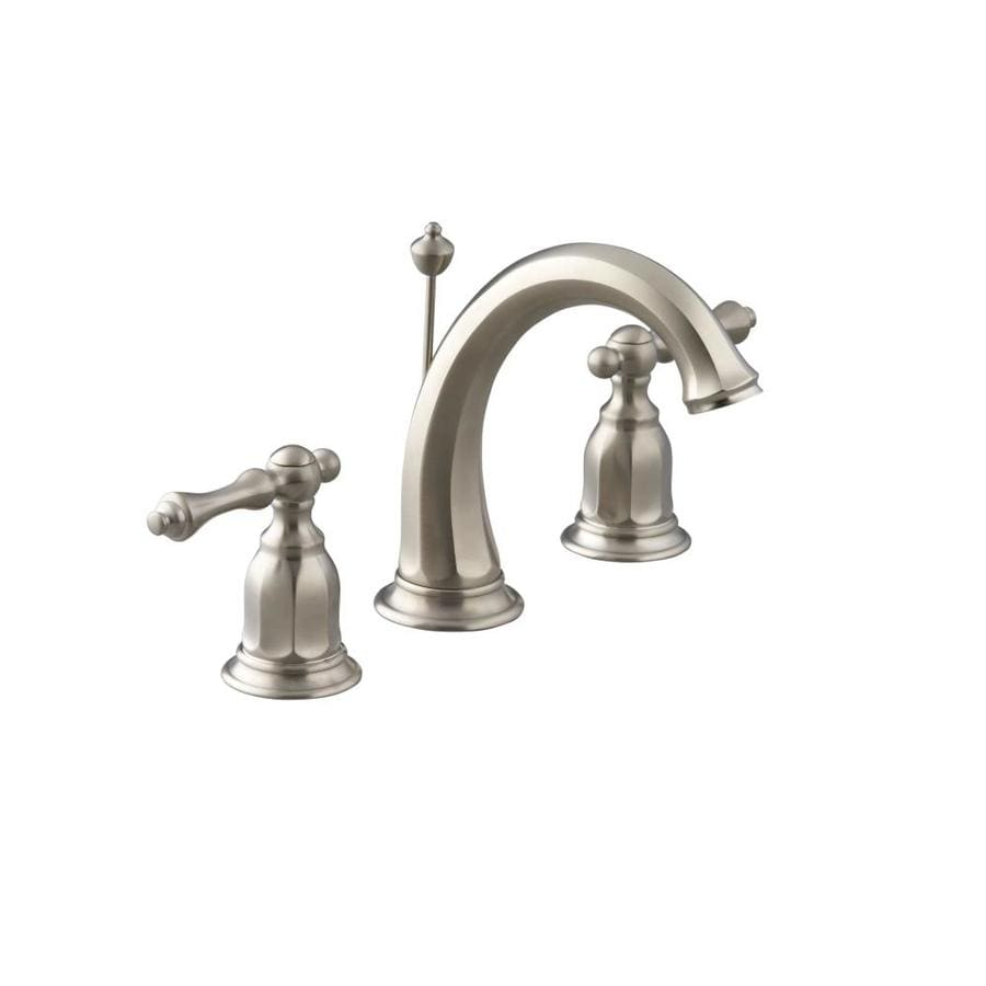 Shop Kohler Kelston Vibrant Brushed Nickel 2 Handle Widespread Watersense Bathroom Faucet Drain