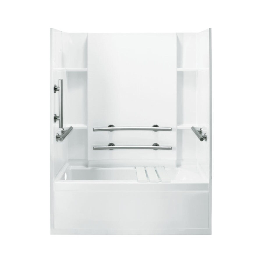 Sterling Accord White Fiberglass and Plastic Composite Rectangular Skirted Bathtub with Left-Hand Drain (Common: 32-in x 60-in; Actual: 74-in x 32-in x 60.25-in)