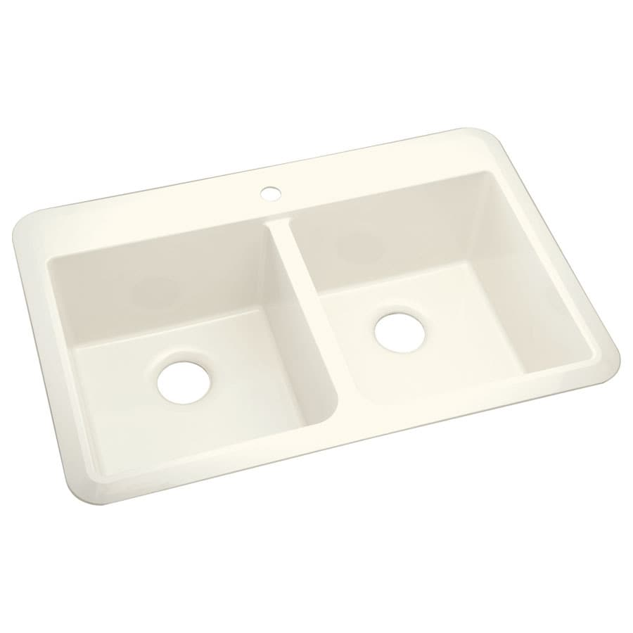 Sterling Slope 22-in x 33-in Biscuit Double-Basin Composite Drop-In or Undermount 1-Hole Residential Kitchen Sink