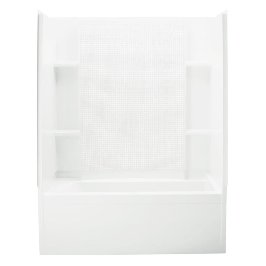 Sterling Accord White Vikrell Wall and Floor 4-Piece Alcove Shower Kit with Bathtub (Common: 36-in x 60-in; Actual: 77.5-in x 36-in x 60-in)