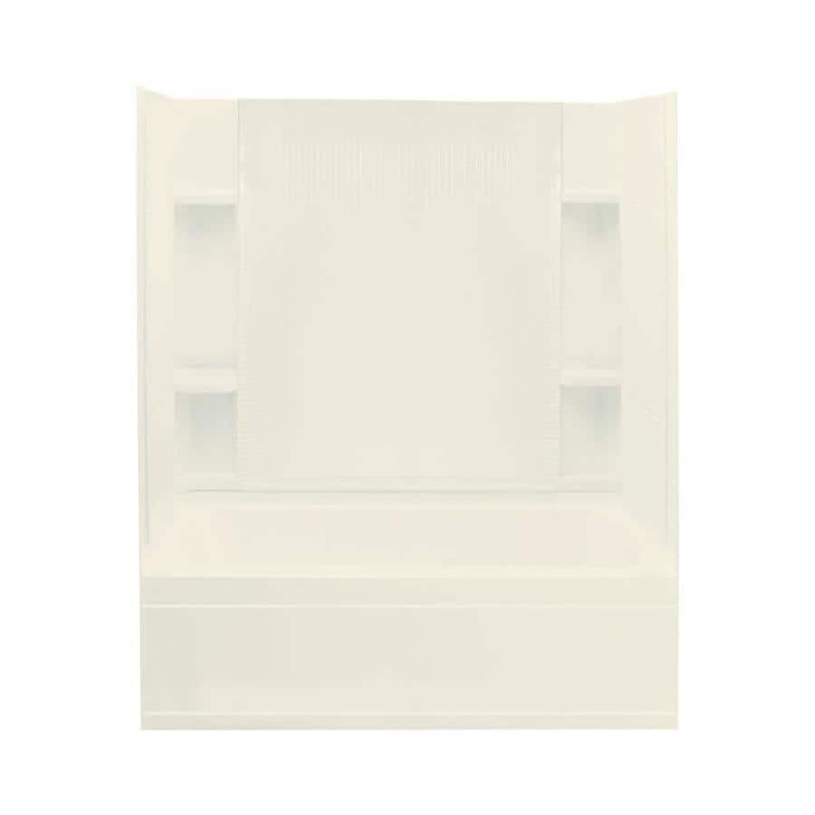Sterling Accord Biscuit Vikrell Wall and Floor 4-Piece Alcove Shower Kit with Bathtub (Common: 36-in x 60-in; Actual: 77.5-in x 36-in x 60-in)