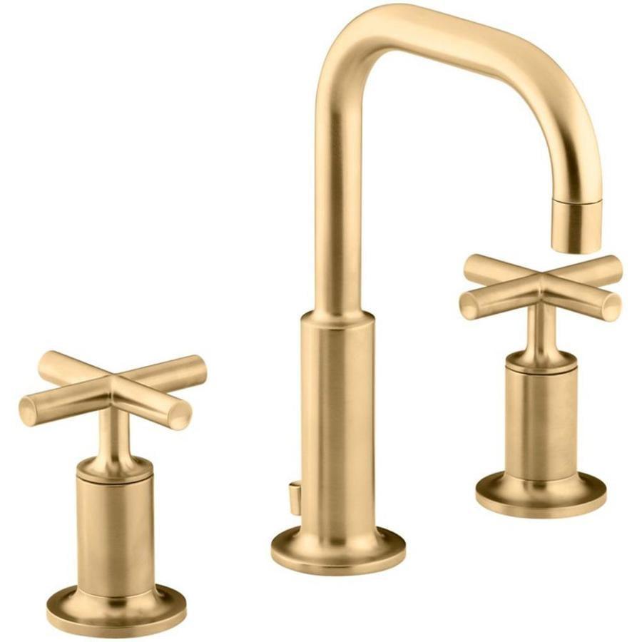 KOHLER Purist Vibrant Moderne Brushed Gold 2-Handle Widespread WaterSense Bathroom Faucet (Drain Included)