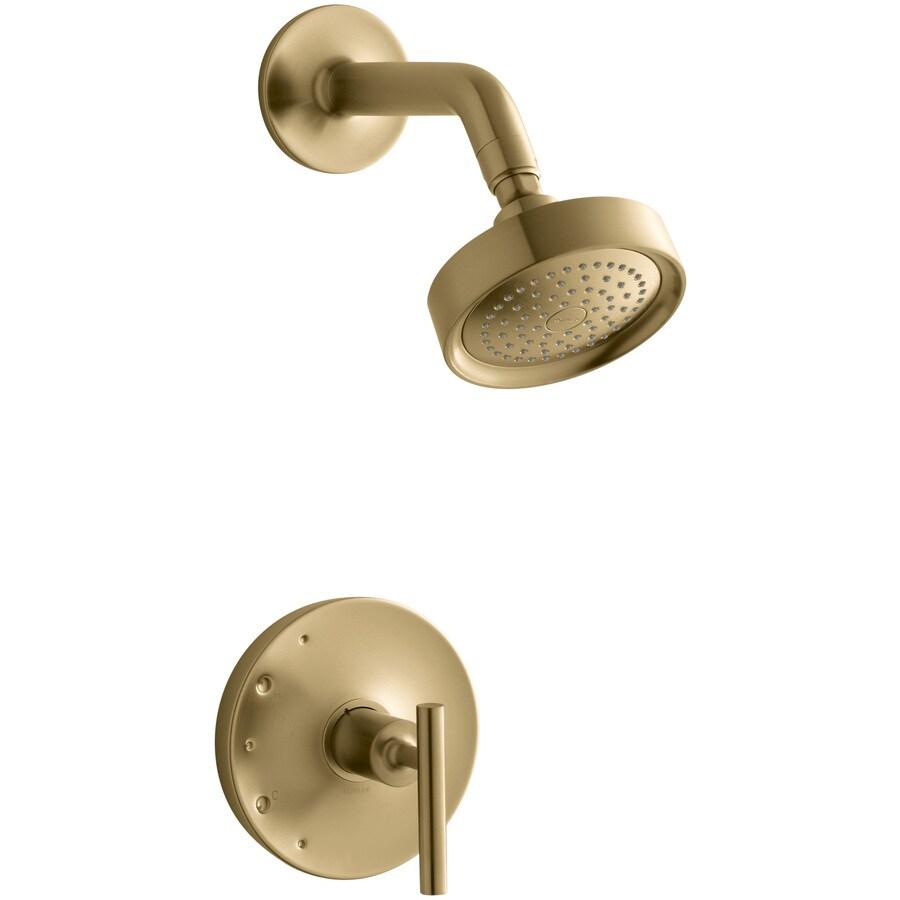 KOHLER Purist Vibrant Moderne Brushed Gold 1-Handle Bathtub and Shower Faucet Trim Kit with Single Function Showerhead