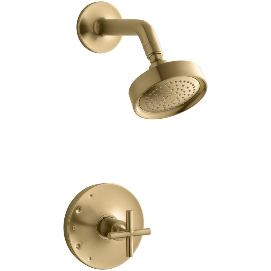 Shop Kohler Purist Vibrant Moderne Brushed Gold 1 Handle Bathtub And Shower Faucet Trim Kit With