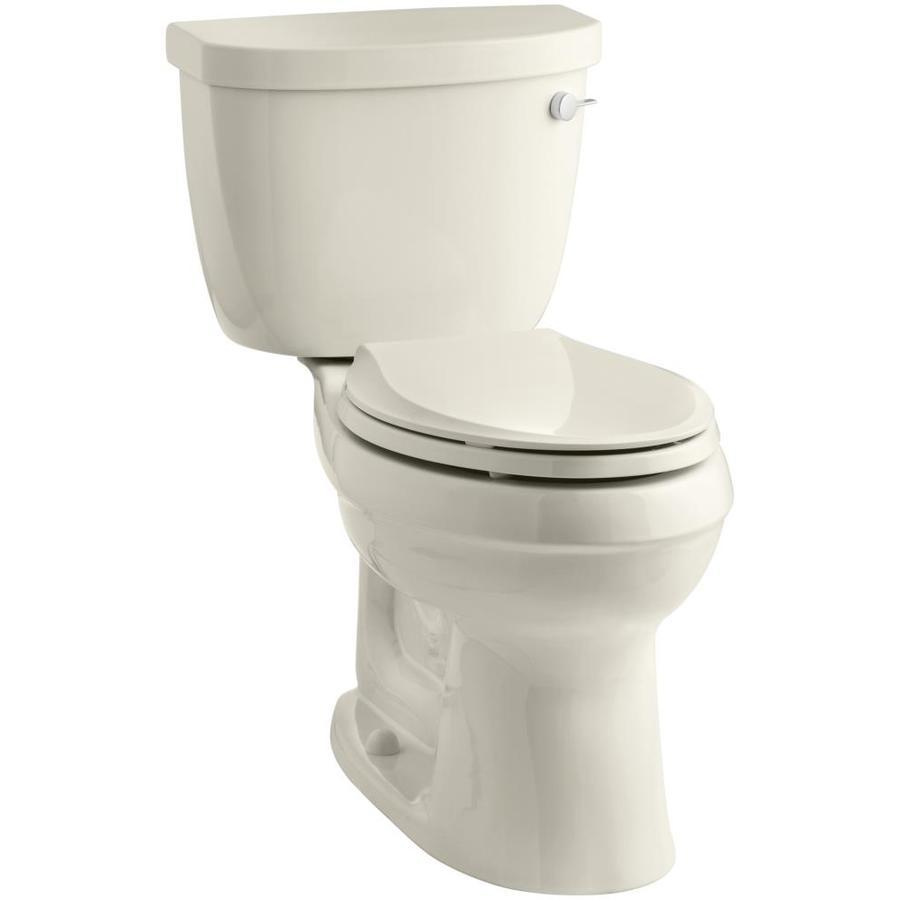 KOHLER Cimarron Almond 1.6-GPF (6.06-LPF) 12 Rough-In Elongated 2-Piece Chair Height Toilet