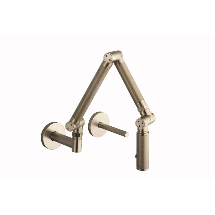 KOHLER Karbon Vibrant Brushed Bronze 1-Handle High-Arc Wall Mount Kitchen Faucet