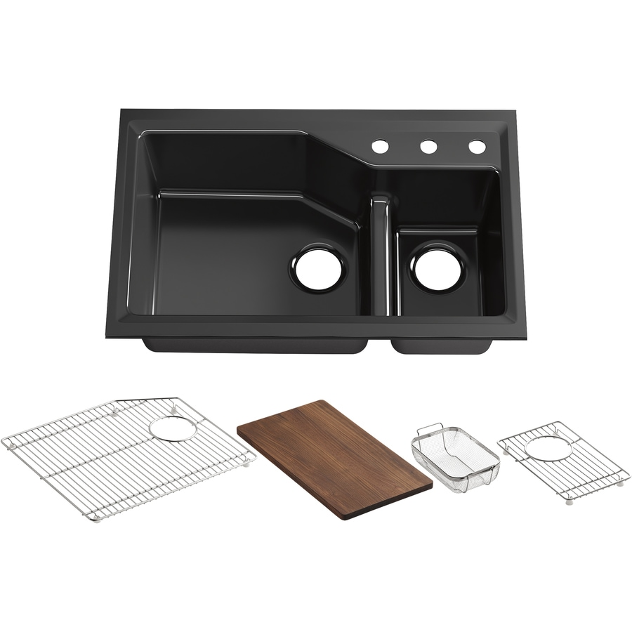 KOHLER Indio 21.12-in x 33-in Black Black Double-Basin Cast Iron Undermount 3-Hole Residential Kitchen Sink with Drainboard