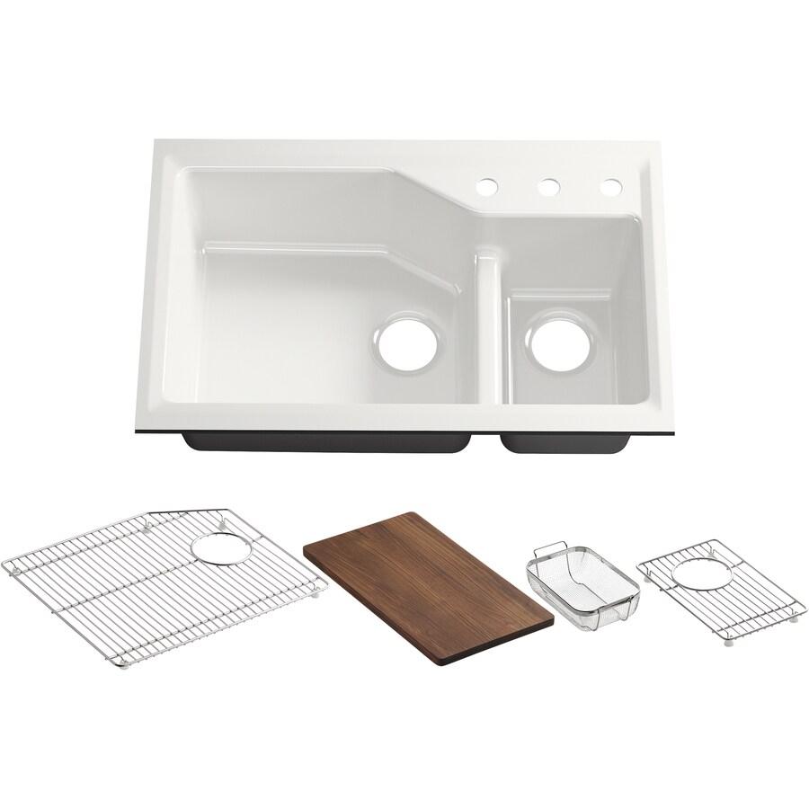 KOHLER Indio 21.12-in x 33-in Sea Salt Double-Basin Cast Iron Undermount 3-Hole Residential Kitchen Sink with Drainboard