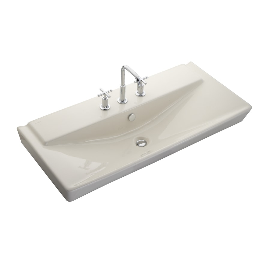 KOHLER Reve Biscuit Fire Clay Drop-in Rectangular Bathroom Sink with Overflow