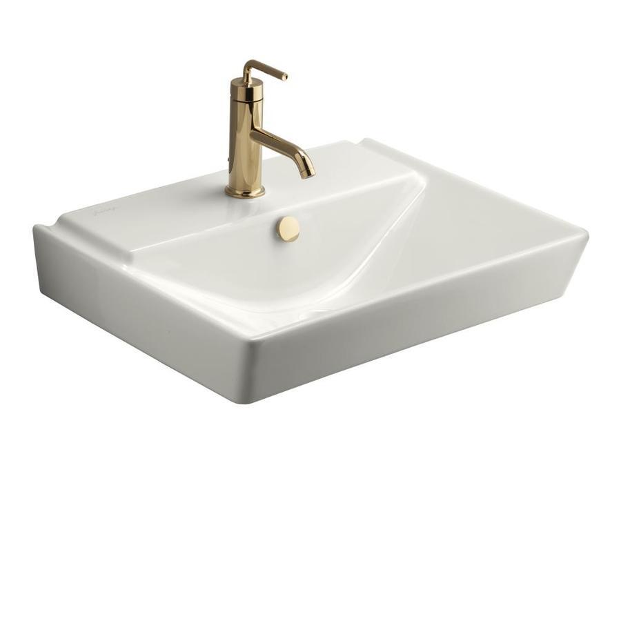 KOHLER Reve White Fire Clay Wall-Mount Rectangular Bathroom Sink with Overflow