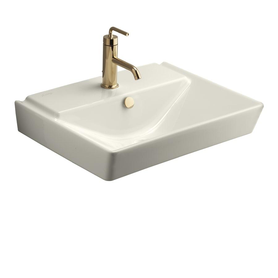 KOHLER Reve Biscuit Fire Clay Drop-in Rectangular Bathroom Sink with Overflow