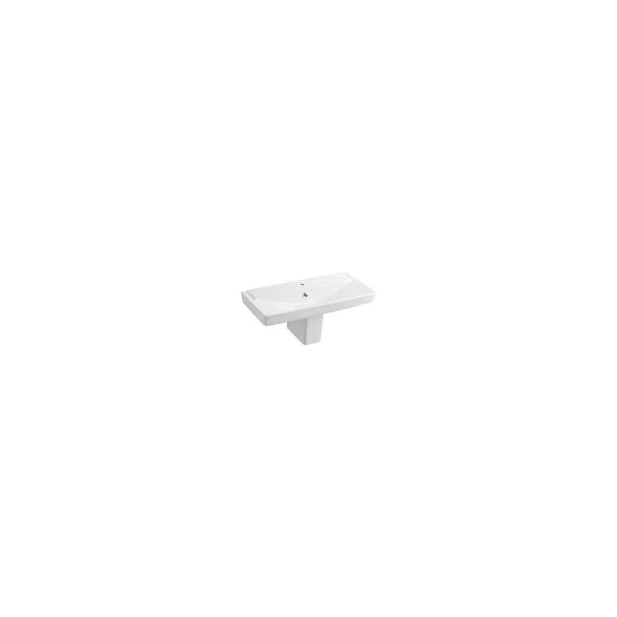 KOHLER Rve 18.4375-in H White Fire Clay Pedestal Sink