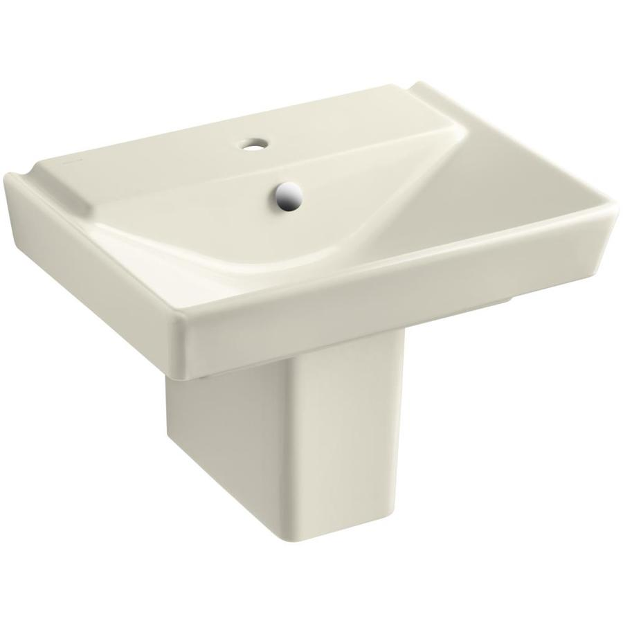 Shop KOHLER Rve 7.4375-in H Almond Fire Clay Pedestal Sink at Lowes ...