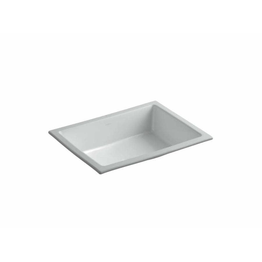 KOHLER Verticyl Ice Grey Undermount Rectangular Bathroom Sink with Overflow