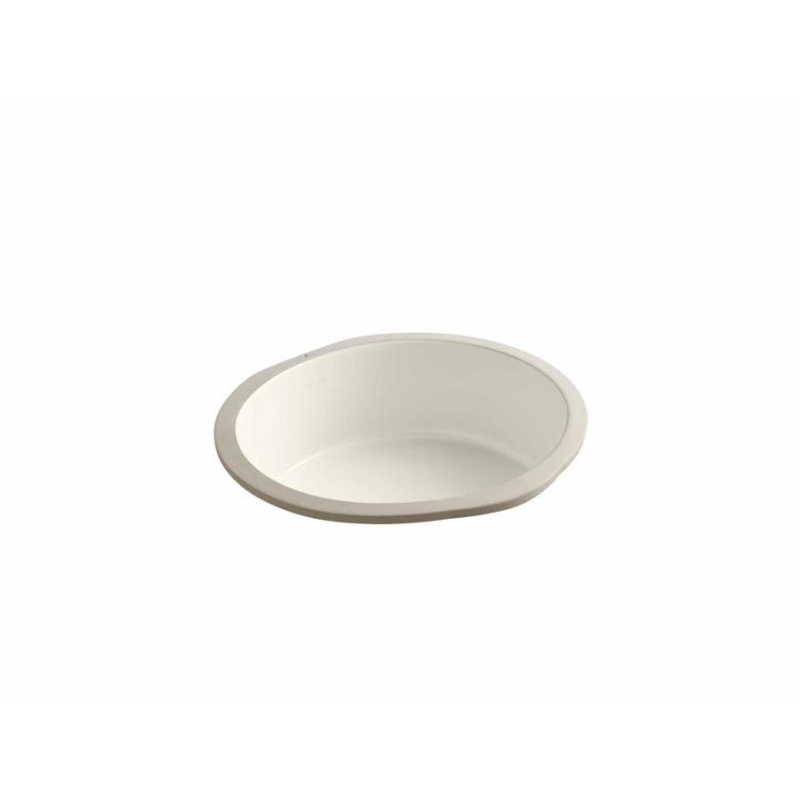 Shop kohler verticyl biscuit undermount round bathroom for Bathroom undermount sinks